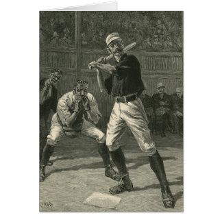 Cartão Esportes do vintage, jogadores de beisebol por