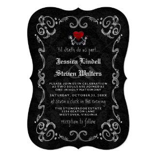 Cartão Esqueletos & coração da MORTE do casamento do Dia