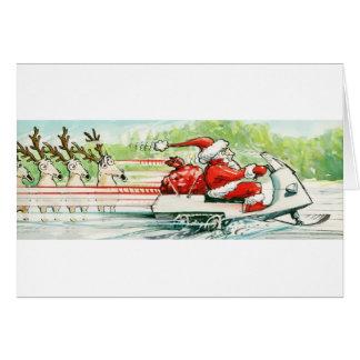 Cartão Esqui do Snowmobile do papai noel do esqui do