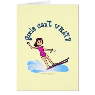 Cartão Esquiador fêmea claro da água