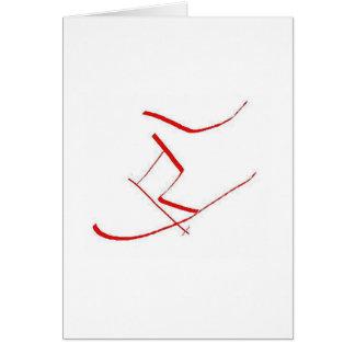 Cartão Esquiador vermelho
