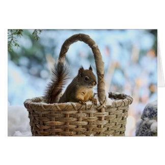 Cartão Esquilo bonito em uma cesta no inverno