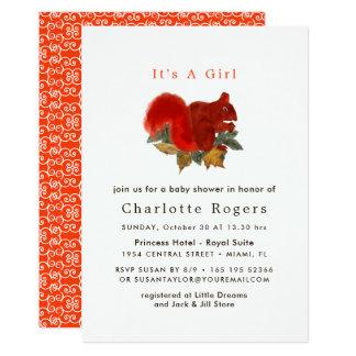 Cartão Esquilo bonito rústico Babyshower da queda do
