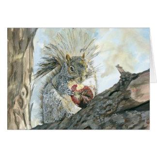 Cartão Esquilo cinzento com maçã