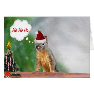 Cartão Esquilo do Natal que diz Ho Ho Ho