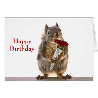 Cartão Esquilo que guardara o buquê da rosa vermelha