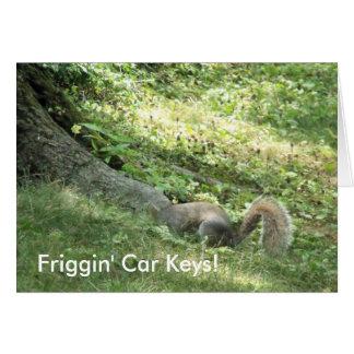 Cartão Esquilo que procura chaves do carro