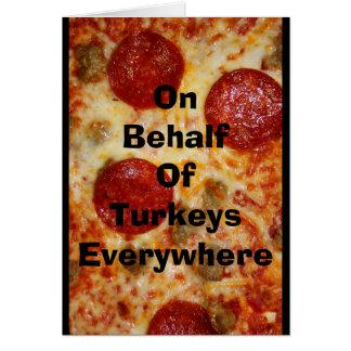 Cartão Esta acção de graças come a pizza!