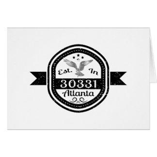 Cartão Estabelecido em 30331 Atlanta