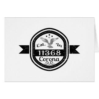 Cartão Estabelecido na corona 11368
