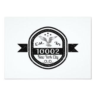 Cartão Estabelecido na Nova Iorque 10002