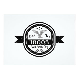 Cartão Estabelecido na Nova Iorque 10003