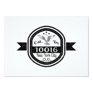 Cartão Estabelecido na Nova Iorque 10016