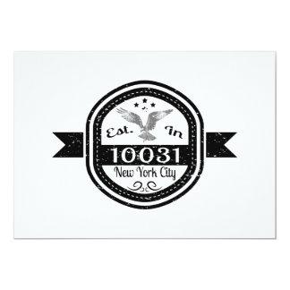 Cartão Estabelecido na Nova Iorque 10031