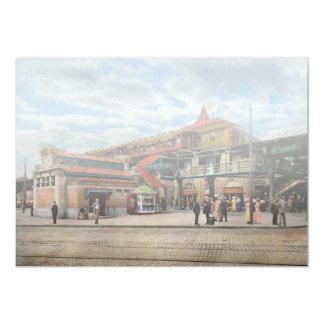 Cartão Estação de caminhos-de-ferro - casa atlântica 1910