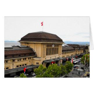 Cartão Estação de comboio de Lausana na suiça
