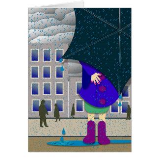 Cartão estar para fora na chuva
