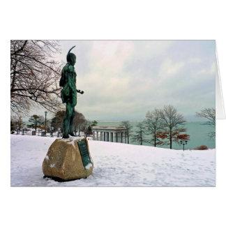 Cartão Estátua de Massasoit em Plymouth, MÃES