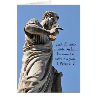 Cartão Estátua de St Peter em Roma, Italia