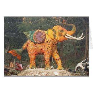 Cartão Estátua do elefante da fantasia em Chiang Mai,