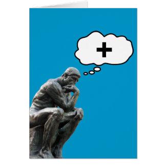 Cartão Estátua do pensador de Rodin - pense o positivo