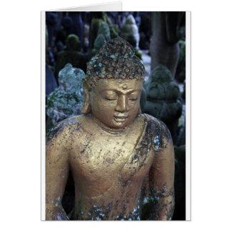 Cartão Estátua dourada de Buddha com Bindi