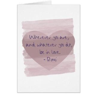 Cartão Esteja no amor Rumi