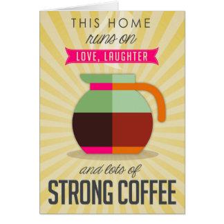Cartão Estes home run no riso do amor e nos lotes do café