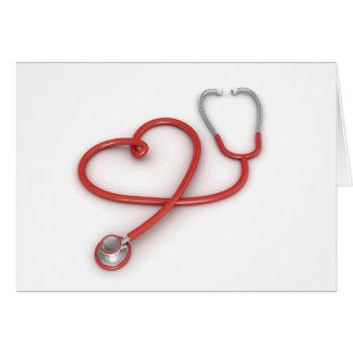 Cartão Estetoscópio e coração