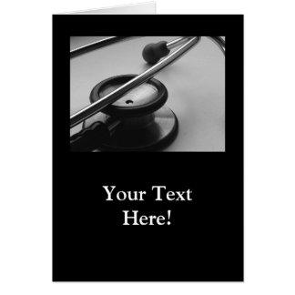 Cartão Estetoscópio médico, preto e branco