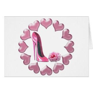 Cartão Estilete, cor-de-rosa cor-de-rosa e corações