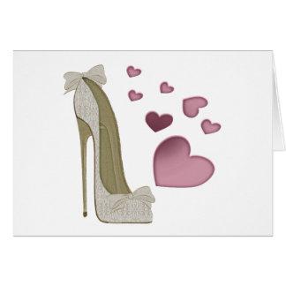 Cartão Estilete e arte cor-de-rosa dos corações