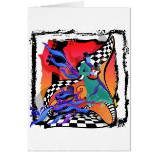 Cartão Estilo colorido do pop art do músico do