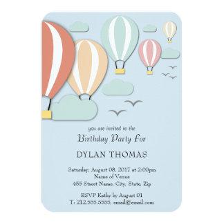 Cartão Estilo de Papercut dos balões de ar quente