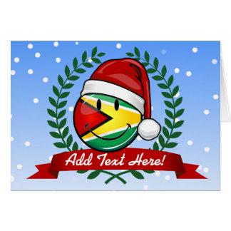 Cartão Estilo de sorriso do Natal da bandeira de Guyana