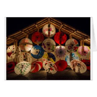 Cartão Estilo japonês dos guarda-chuvas japoneses