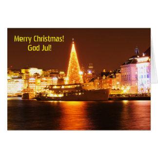 Cartão Éstocolmo, suecia no Natal na noite