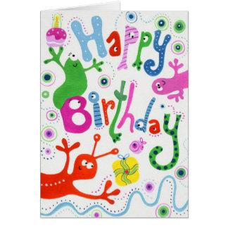 Cartão estrangeiro do feliz aniversario