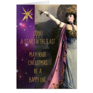 Cartão Estrela da atriz do vintage no Natal do leste