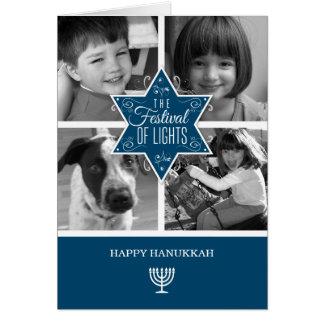 Cartão Estrela de David azul decorativa Hanukkah da