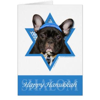 Cartão Estrela de David de Hanukkah - buldogue francês -
