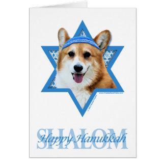 Cartão Estrela de David de Hanukkah - Corgi - Owen