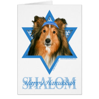 Cartão Estrela de David de Hanukkah - Sheltie