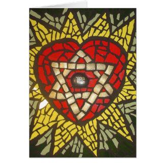 Cartão Estrela de David de incandescência do coração de
