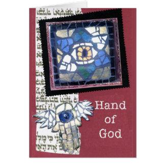 Cartão Estrela de David do mosaico e mão do deus
