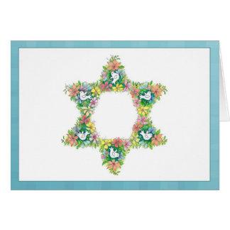 Cartão Estrela de David floral