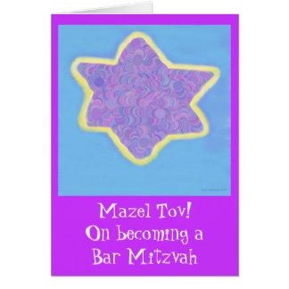 Cartão Estrela de David judaica roxa de Mitzvah do bar