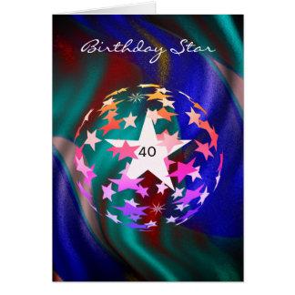 Cartão Estrela do aniversário de 40 anos (adicione a
