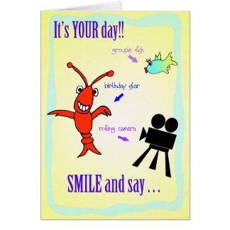 Cartão Estrela do aniversário dos lagostins de Cajun