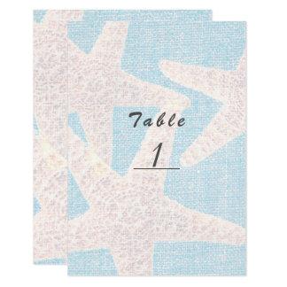 Cartão Estrela do mar branca & número azul da mesa da
